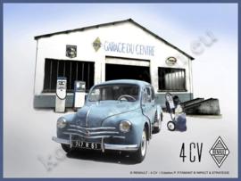 metalen reclamebord Renault 4CV Garage 15-20 cm
