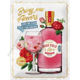 metalen reclamebord Rose Field gin 30x40 cm