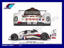 metalen muurbord Peugeot 905 Le Mans 1992 30x40 cm