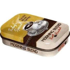 blikken mint box kopje koffie morning blend