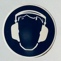 sticker gehoorbescherming  8,5 cm.