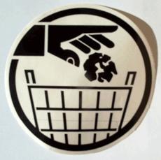 transparante sticker vuilnisbak / afvalbak zwart  14,5 cm