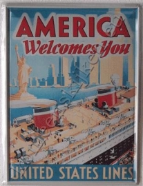 blikken reclame bord america welcomes you