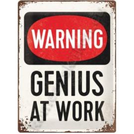 wandplaat genius at work 30x40 cm