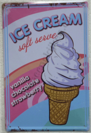 metalen reclamebord ice cream soft serve 20-30 cm