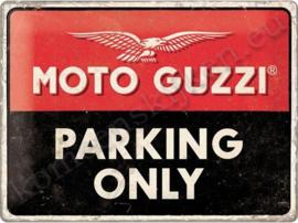 metalen reclamebord Moto guzzi parking only 30-40 cm