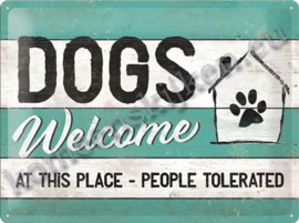 metalen wandbord Dogs Welcome at this place 30-40 cm