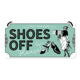 hanging sign shoes off please 10x20 cm