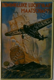 metalen ansichtkaart KLM vliegende hollander 10-14 cm