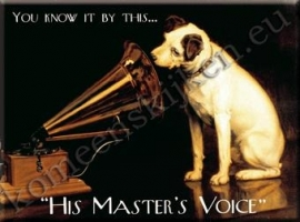 metalen ansichtkaart His master`s voice 15-21 cm
