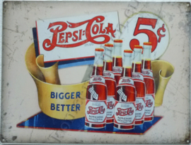metalen wandplaat pepsi cola 5 ct bigger better 30-40 cm