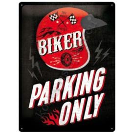 metalen wandplaat biker parking only 30-40 cm