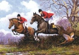 metalen reclamebord jumping horses 30-40 cm