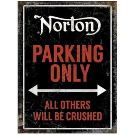 metal wall sign norton parking only 30-40 cm