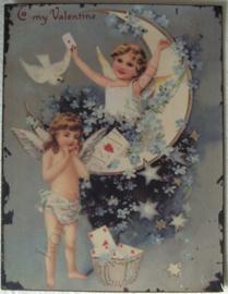 metalen wandbord engeltjes met briefkaarten