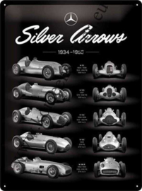 metalen wandbord Mercedes Benz Silver Arrow chart 30x40 cm