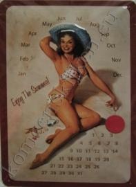 metalen kalender pin up 20-30 cm