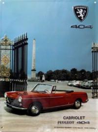 blikken reclamebord Peugeot 404 30x40 cm