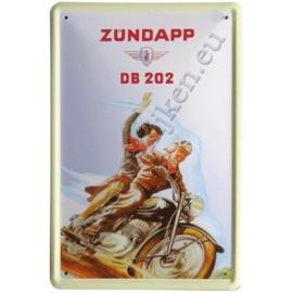 blikken reclame bord van zundapp DB 202  30-40 cm