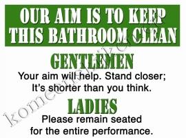 metalen wandplaat our aim is to keep this bathroom clean / WC 30-40 cm