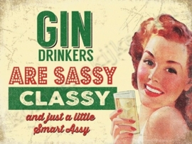 metal wall sign gin drinkers 30-40 cm