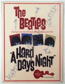 metalen affiche van the beatles a hard day night 30-40 cm