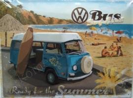 metalen wandplaat VW transporter T2 surf coast 30-40 cm