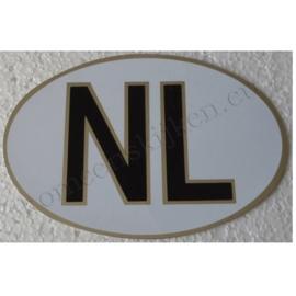 witte NL sticker met zilveren rand 12,7 cm bij 8,7