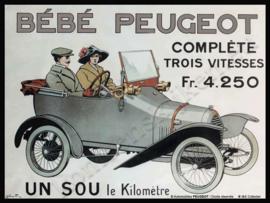 metalen reclamebord Bebe Peugeot 20-30 cm