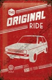 metalen wandbord VW golf the original ride 20-30 cm