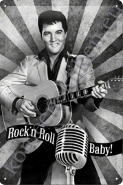 metalen wandplaat elvis rock `n roll baby 20-30 cm