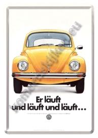 metalen ansichtkaart VW kever geel 10-14 cm