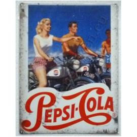 metalen wandbord pepsi cola motorfietsen  30-40 cm
