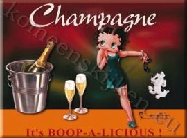 metalen ansichtkaart Betty Boop champagne 15-21 cm