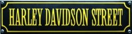 emaille straatnaambord harley davidson street / zwart-oranje