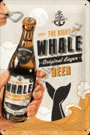 blikken bord whale beer 20-30 CM