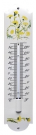 emaille thermometer bloemen geel