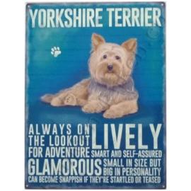 metalen wandplaat yorkshire terrier 30-40 cm