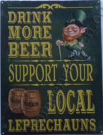 metalen bord drink more beer support leprechauns 30-40 cm
