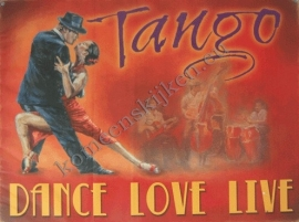 metalen wandplaat tango, dance love live 30-40 cm