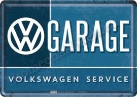 metalen ansichtkaart VW garage 10-14 cm