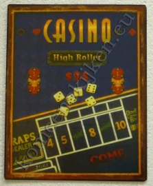 vlak metalen bord casino high roller 20-25 cm