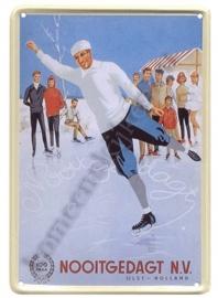 metalen ansichtkaart nooitgedagt schaatsen 10-14 cm