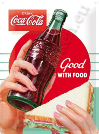 metalen wandbord Coca Cola good with food 30-40 CM