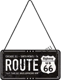 hanging sign / deurbordje Route highway US 66 10x20 cm