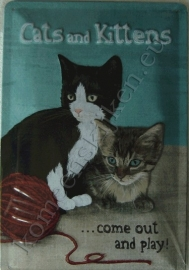 blikken reclamebord cats and kittens 20-30 cm