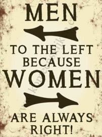 metalen wandbord men left women right 15x20 cm