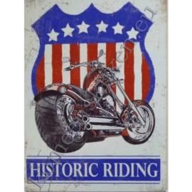 metalen wandbord historic riding 30-40 cm