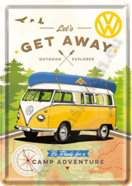 metalen ansichtkaart VW camper let's get away 10-14 cm