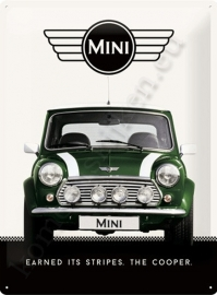 metalen wandbord mini cooper green 30-40 cm